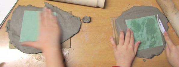 Using templates to make ceramic tiles at the children's art school after school club