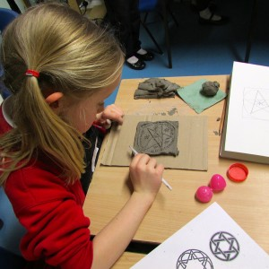 Making Patterned Tiles at the Children's Art School after school club