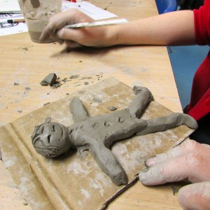Clay Model of a Man at Children's Art School After School Art Club