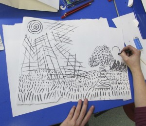 An imaginary landscape using different kinds of line to create texture in children's art school 3D drawing half term workshop