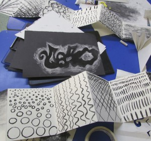 Charcoal drawings to explore line and tone from the children's art school half term art course on 3D drawing