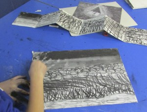 Drawing using line and tone in children's art school half term 3d drawing course