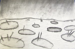 Lily pond landscape from children's art school 3D drawing workshop at half term