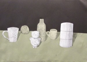 Still life collage at children's art school half term 3D drawing workshop with artist Chrys Allan