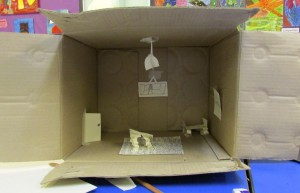 A cardboard box room created at the children's art school 3D drawing half term workshop with artist, Chrys Allan