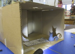 Cardboard Box Room at the Children's Art School's 3D drawing half term course with artist, Chrys Allan