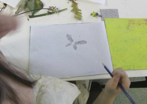 Sketches for printmaking at the children's art school holiday course led by artist Chrys Allen