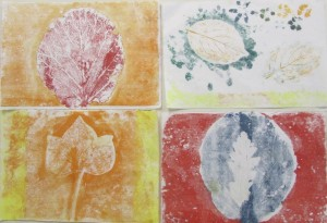 Prints inspired by nature at the half-term printmaking workshop at the Children's Art School with artist, Chrys Allen