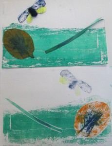 Print inspired by the natural world at the half-term printmaking workshop at the Children's Art School with artist, Chrys Allen