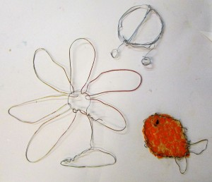 Wire drawings inspired by nature on the children's art school half term printmaking course, led by Chrys Allan