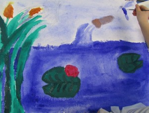 Children exploring colour in painting at Children's Art School holiday course led by artist, Karen Logan