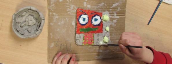 Op art tile painting at childrens after school art club led by artist Karen Logan