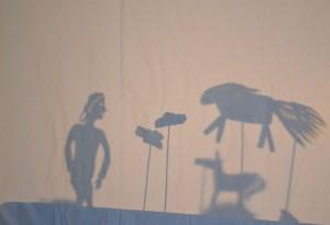 Shadow puppet show at the Children's Art School holiday art course held by artist, Karen Logan