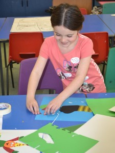 Creating papercut illustrations for Children's Art School holiday art course led by Pencil and Help