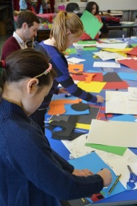 Creating papercut illustrations for Children's Art School illustration workshop led by Pencil and Help