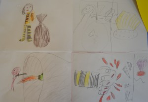 Storyboard created for Children's Art School holiday illustration course led by Pencil and Help