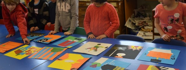 Sharing illustrations at Children's Art School holiday illustration course led by Pencil and Help