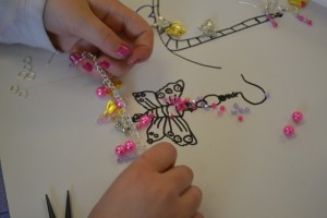 Making charm bracelets at the Children's Art School holiday jewellery-making course with Charlene Braniff