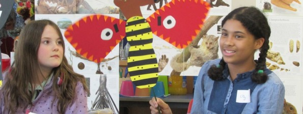 Imaginary animal puppet created at the Children's Art School holiday art course led by Julia Millette